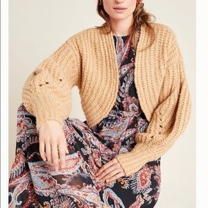 NWT Anthropologie Balloon Sleeved Cropped Cardigan